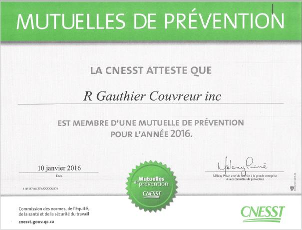 CERTIFICATIONS - R.Gauthier Couvreur inc - Couvreur à Repentigny
